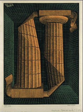 Дорические колонны. 1945, резьба по дереву