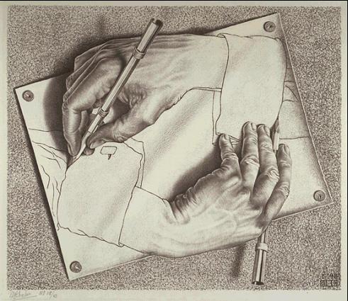 Рисующие руки. 1948, литография