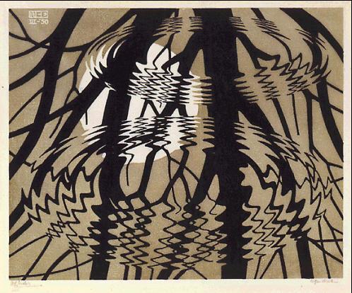 Рябь. 1950, гравюра на куске линолеума