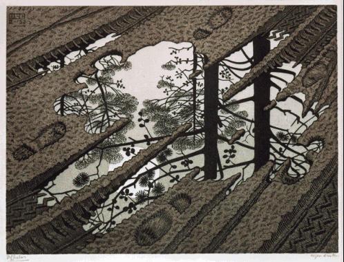 Лужа. 1952, гравюра на дереве