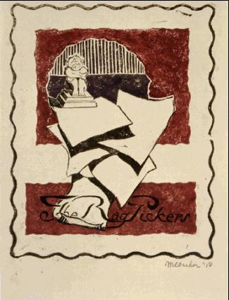 Старьевщик. 1918, гравюра на линолеуме в черном, красном и фиолетовом