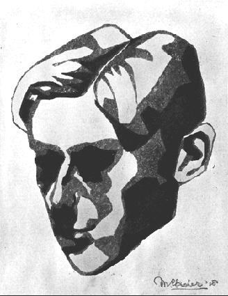 Автопортрет. 1918, гравюра на линолеуме в голубом и темно-синем цветах