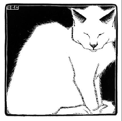 Белый кот. 1919, гравюра на дереве