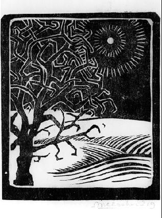 Дуб Боргер. 1919, гравюра на линолеуме