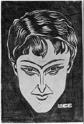 Портрет. 1919, гравюра на линолеуме