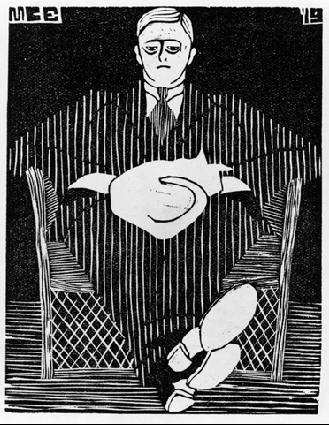 Сидящий мужчина с котом на коленях. 1919, гравюра на дереве