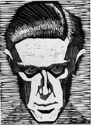 Автопортрет. 1919, гравюра на дереве