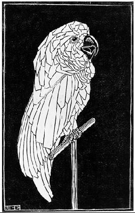 Попугай. 1919, гравюра на линолеуме