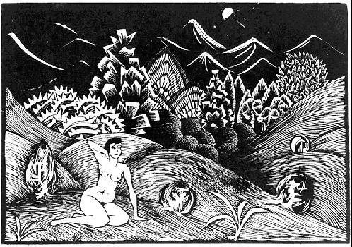 Обнаженная женщина на фоне пейзажа. 1920, гравюра на дереве