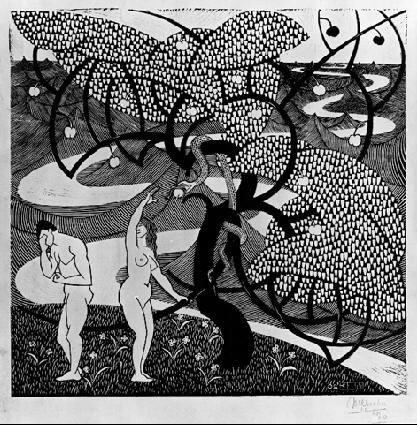 Падение мужчины. 1920, гравюра на дереве