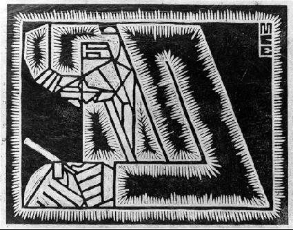 Отец Эшера с увеличительным стеклом. 1920, гравюра на линолеуме