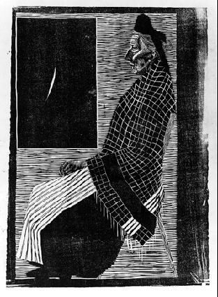 Сидящая пожилая женщина. 1920, гравюра на дереве