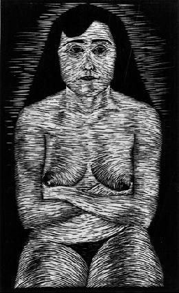 Сидящая обнаженная женщина. 1920 или 1921, гравюра на дереве