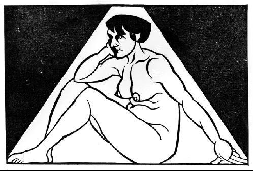 Сидящая обнаженная женшина