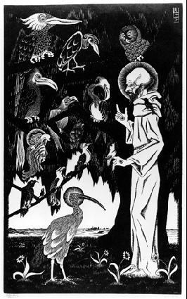 Св. Франциск. 1922, гравюра на дереве