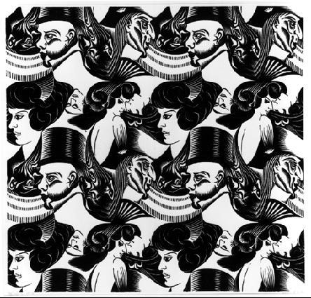 Восемь голов. 1922, гравюра на дереве, напечатано один раз из целого куска и 8 раз из разных частей