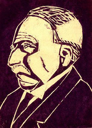 1916, первая графическая работа - гравюру на фиолетовом линолеуме - портрет своего отца Г. А. Эшера.
