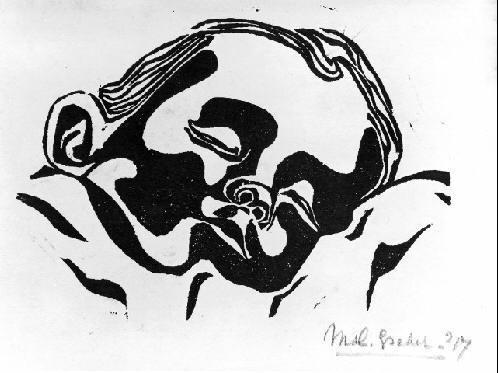Ребенок. 1917, гравюра на линолеуме