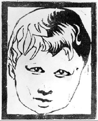 Голова ребенка. 1916, гравюра на зеленом линолеуме