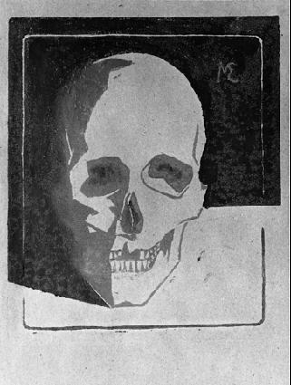 Череп. 1917 гравюра на линолеуме в двух тонах серого