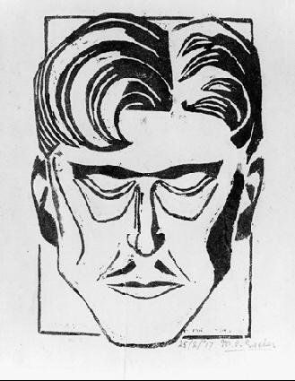 Мужчина. 1917, гравюра на линолеуме