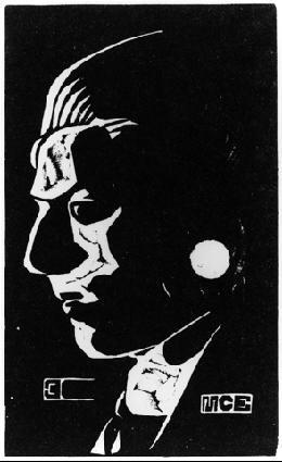 Автопортрет. 1917, гравюра на линолеуме