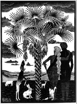 Шестой день мироздания. 1926, гравюра на дереве