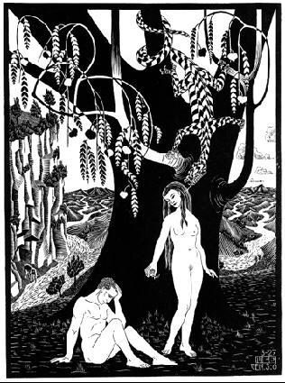Падение мужчины. 1927, гравюра на дереве