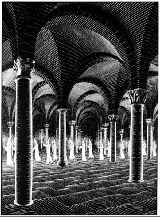 Проход в склеп. 1927, гравюра на дереве