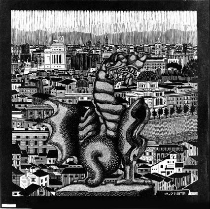 Рим. 1927, гравюра на дереве в сером и черном