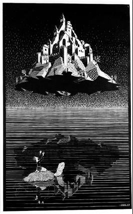 Замок в воздухе. 1928, гравюра на дереве