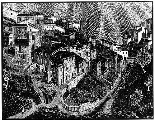 Фара Сан-Мартино, Абруццо. 1928, гравюра на дереве, на двух слоях