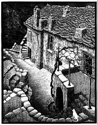 Корте, Корсика. 1929, гравюра на дереве в сером и черном