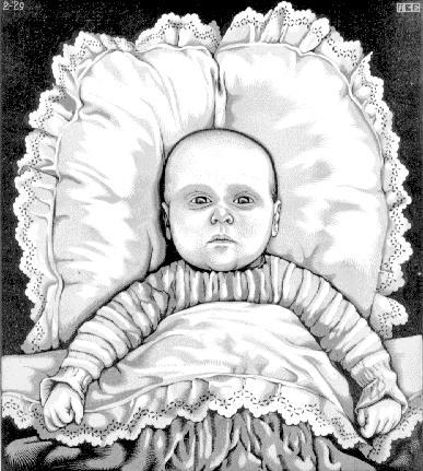 Младенчество артура Эшера. 1929, гравюра на дереве