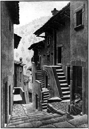 Улица в Сканно, Арбуззи. 1930, гравюра на дереве