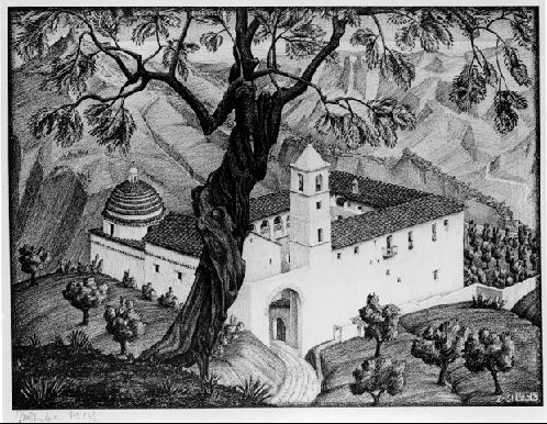 Монастырь близ Рокка Империале, Калабрия. 1931, литография