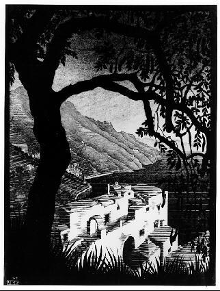 Побережье Амальфи.. 1931, гравюра на дереве в черном и разных тонах серого