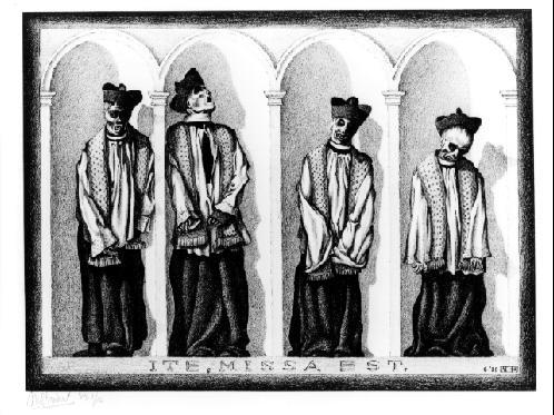 Мумифицированные священники, Ганди, Сицилия. 1932, литография