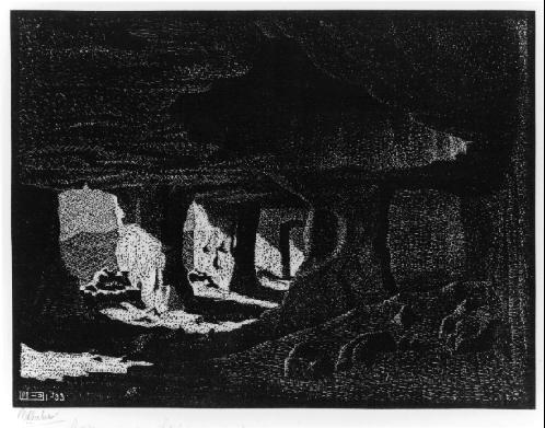 Пещеры (около Сперлинги) Сицилия. 1933, гравюра на дереве