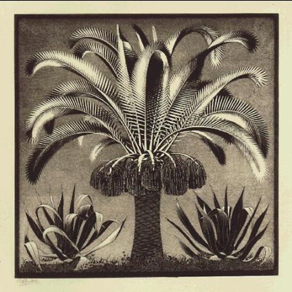 Пальма. 1933, резьба по дереву в черном и серо-зеленом