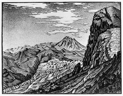 Кальтавутуро, Мадоние горы, Сицилия. 1933, литография