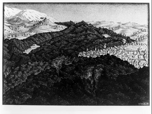 Истечение лавы в 1928 из Этны, Сицилия. 1933, литография