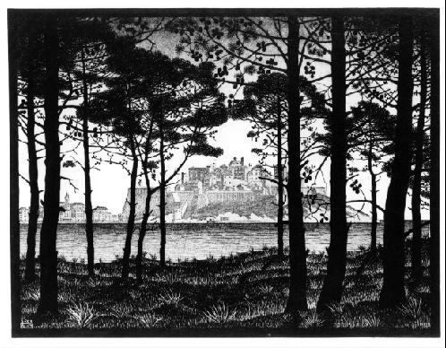 Пинета Кальви, Корсика. 1933, гравюра на дереве в светло-сером, темно-сером и черном