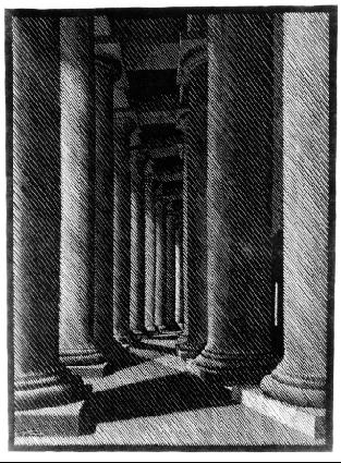 Ночной Рим: Колоннада св. Петра. 1934, гравюра на дереве