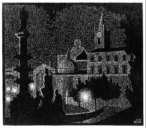 Ночной Рим: Санта Мария дель Пополо. 1934, гравюра на дереве