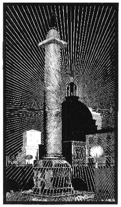 Ночной Рим: Троянская Колонна. 1934, гравюра на дереве