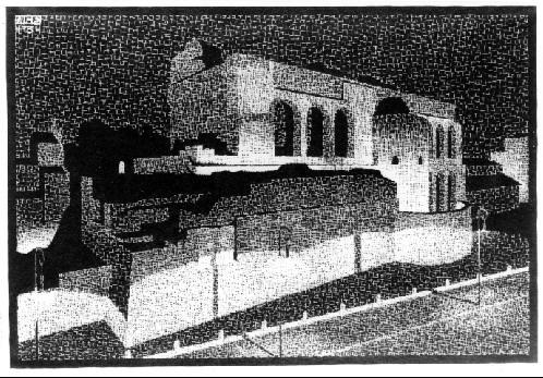 Ночной Рим: Базилика Константина. 1934, гравюра на дереве