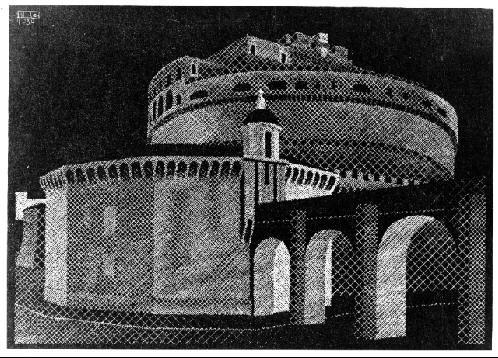 Ночной Рим: Заком св. Анжело. 1934, гравюра на дереве