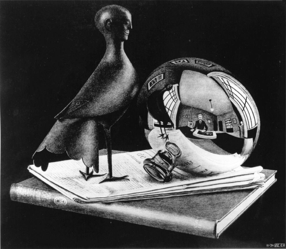 Натюрморт со сфеерическим зеркалом. 1934, литография