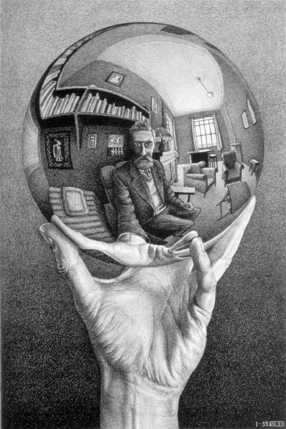Рука с зеркальной сферой. 1935, литография